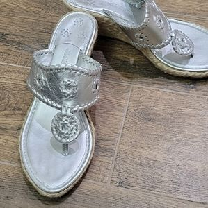 New Jack Rogers silver wedge size 9